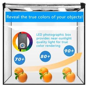 Image 2 - ZUOCHEN【UPGRADED】 60CM Fotoğraf Stüdyosu Fotoğraf Kiti Taşınabilir led ışık Odası Kutusu küp çadır Softbox Kiti