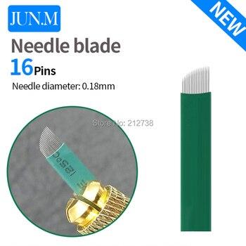 New 0.18mm diameter 16 pin microblading needles blades Lamina Agulha Sobrancelha Tebori Microblading 16 Pontas Flex brow tattoo