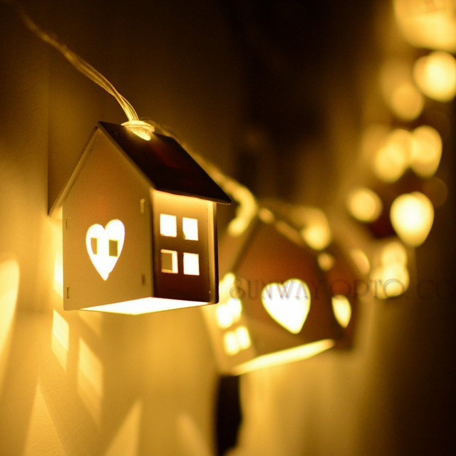 25m battery powered 10 house shape lighting string warm white christmas lights string for house