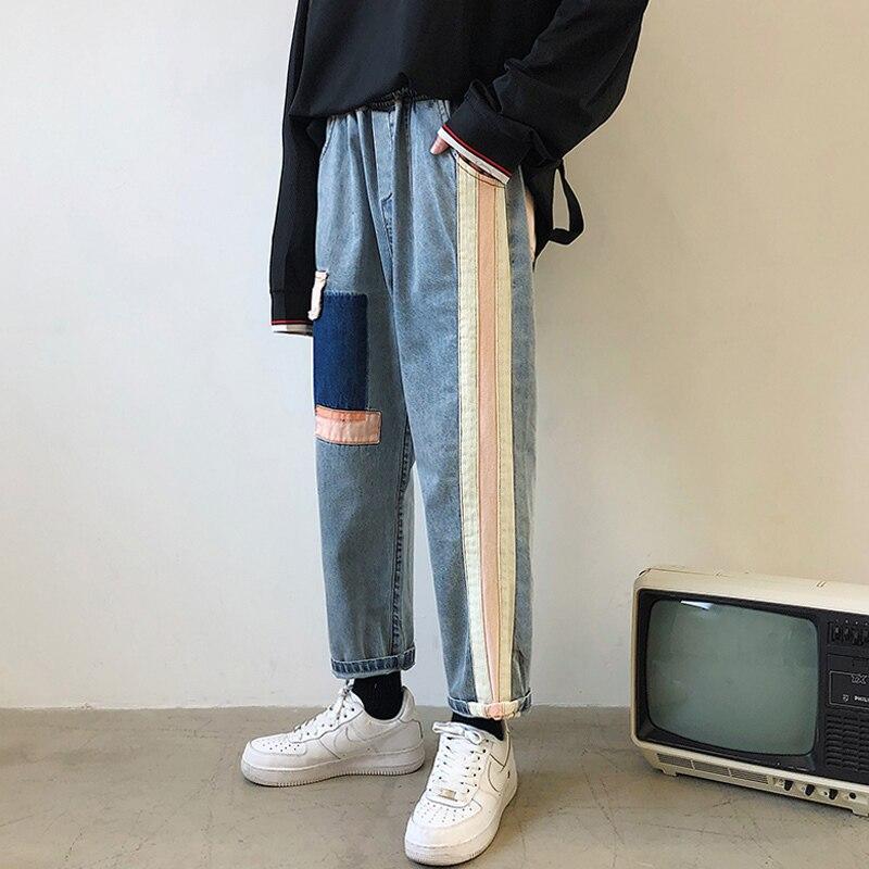 2019 Summer Men's Wide Leg Pants Patch Baggy Homme Casual Pants Cargo Pocket Jeans Biker Denim Blue Color Trousers Size S-2XL 4