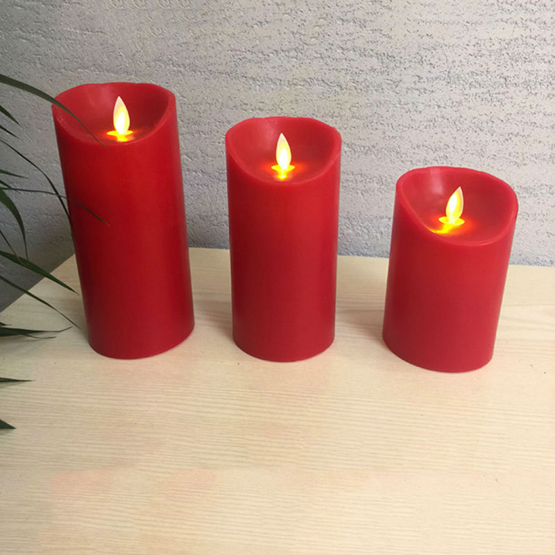Battery operated flameless swing wick dancing flame red wax led - Home Decor - Photo 2