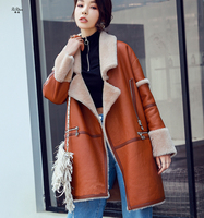 ZiZhen Winter Women's Patchwork Merino Sheep Fur Full Pelt Long Double faced Fur OverCoat Turn down Collar With Pockets 180816 5