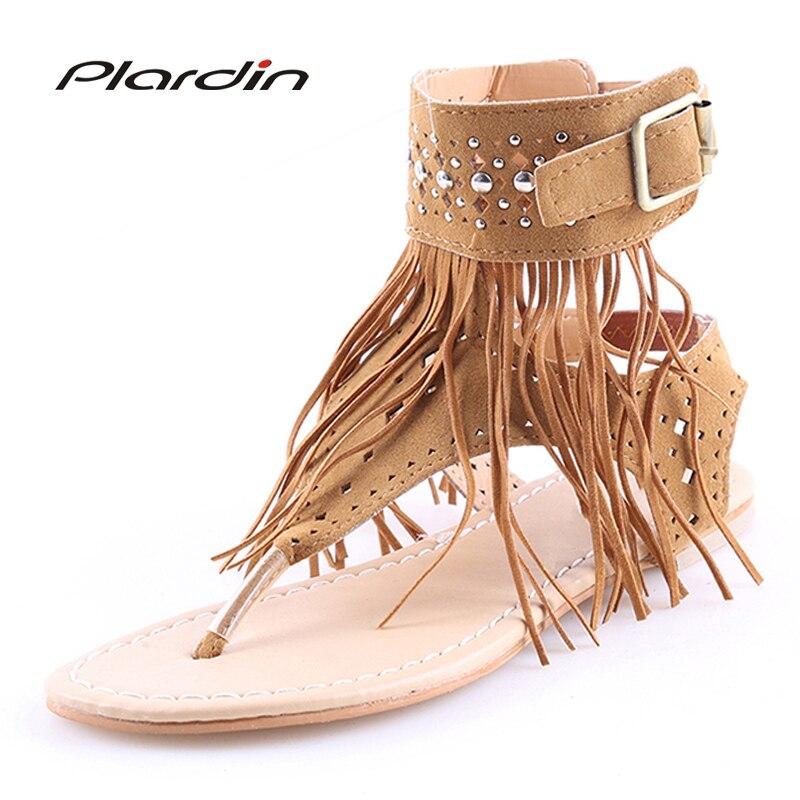 Plardin Sommer Böhmen Flachen Frauen Sandalen Quaste Frau Flip Flops Vintage Frauen Schuhe Strand Schuhe Frau Fringe schuhe Flip-flops