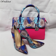 Shoes Handbag-Sets Fuchsia Wholesale Snake WENZHAN with Top-Grade 36-43 A93-19 Newest-Match