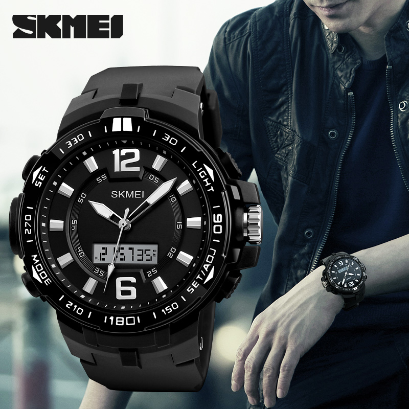 SKMEI 2017 Luxury Brand Men Watches Multifunction LED Quartz Digital Wristwatches Men Fashion Sport Waterproof Watch Male clock