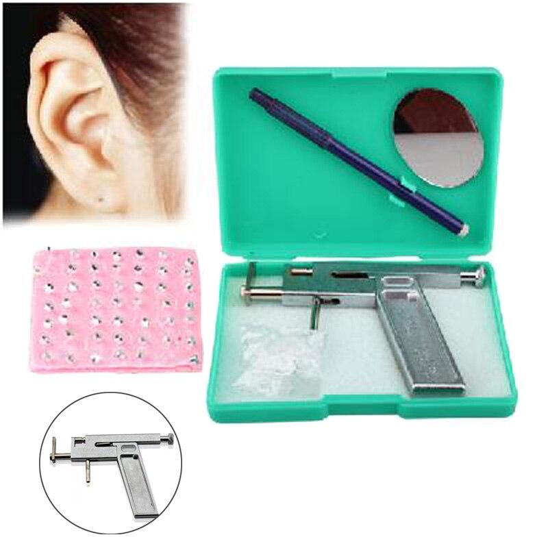 New 1set Professional Stainless Steel Ear Nose Navel Body Piercing Gun 98pcs Studs Tool Kit Set Dropshipping