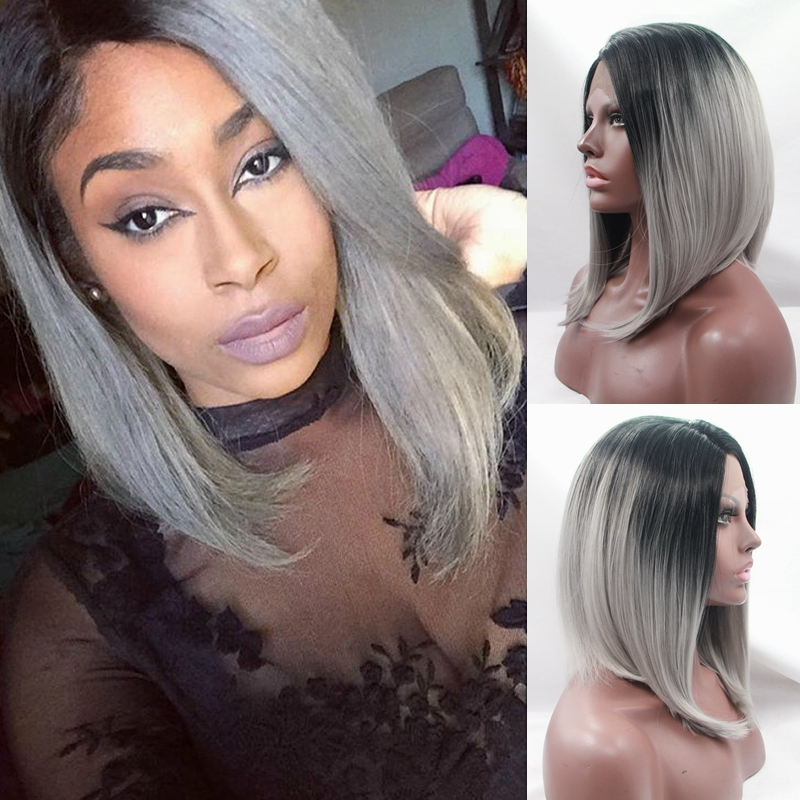 ФОТО Silk straight ombre silver grey synthetic wigs 12-16 inch short hair bob synthetic lace front wig black to grey ombre woman wig