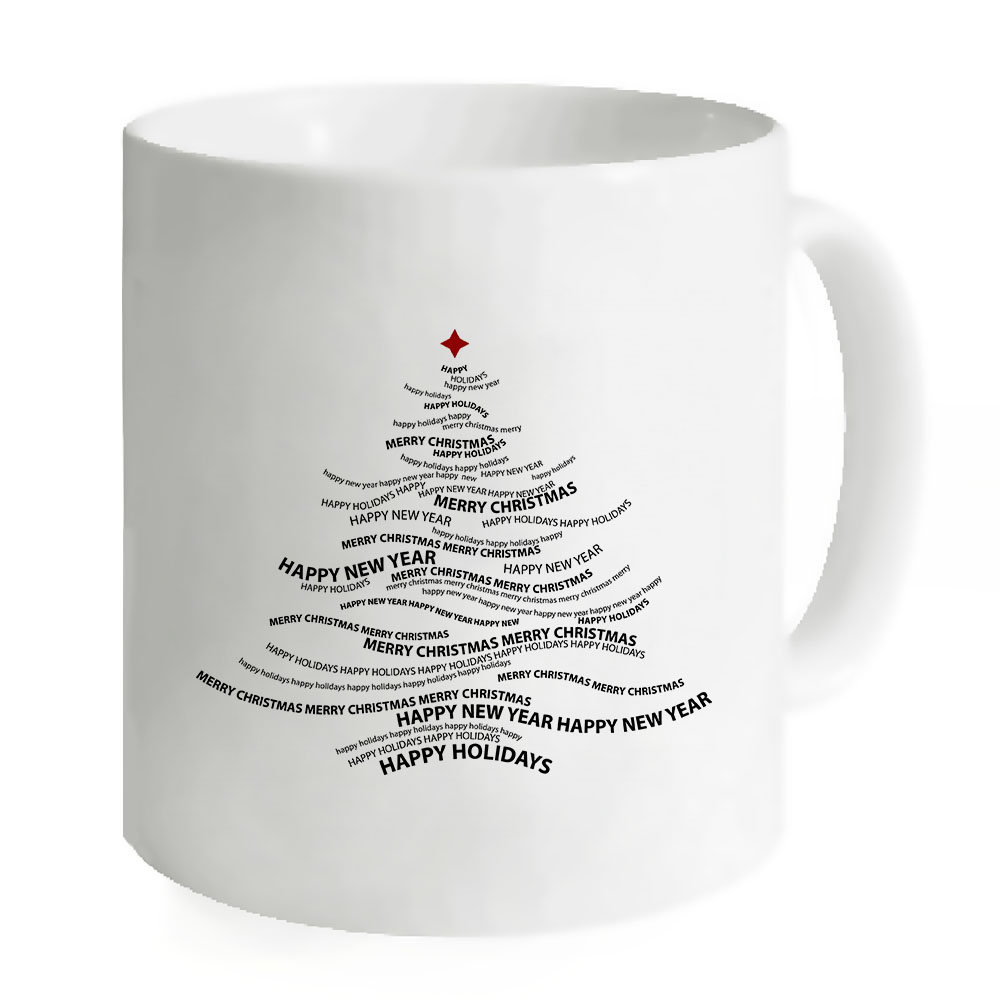 Christmas Tree Drinking Water: For Gifts Unique Design Tree Mugs Coffee White Tea Milk