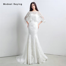 Elegant White Mermaid Lace Wedding Dresses 2017 with Lace Shawl Formal Women Long Church Bridal Gowns vestido de noiva sereia