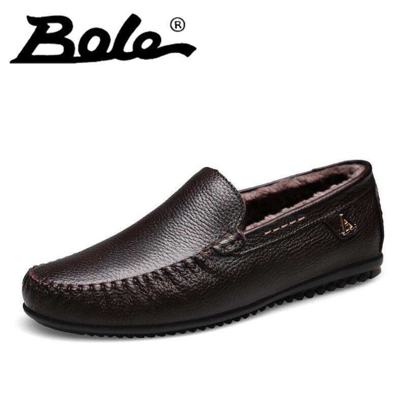 Мужская повседневная кожаная обувь модные подлинные Горох обувь без шнуровки прочная обувь круглый носок весенне-осенняя обувь сапоги чер...