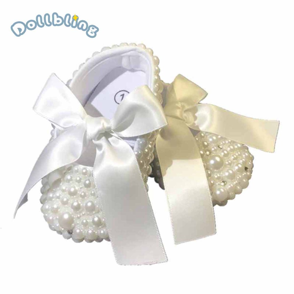 Baby Shoes Pure White Christening Cute Pearls Custom Made DIY Inspired Wedding New Born Footwear Princess Little Girl Shoes