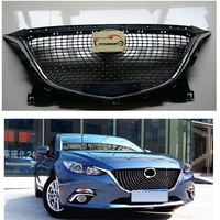 MODIFIED DIAMOND FRONT RACING GRILLE GRILLS ABS BUMPER MESH MASK TRIMS COVER FIT FOR MAZDA 3 AXELA 2014 2016 GRILL CAR STYLING