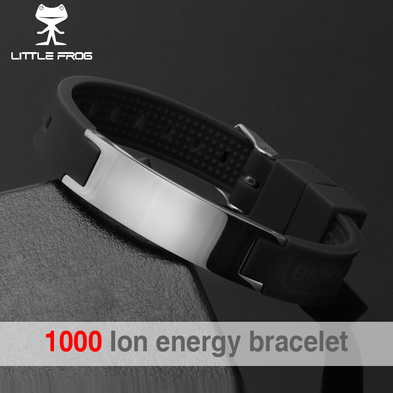 цена на LITTLE FROG Multicolors Street Basketball Sports Silicone Bracelet Men Bio Magnetic Power Energy Negative ION Balance Bangles