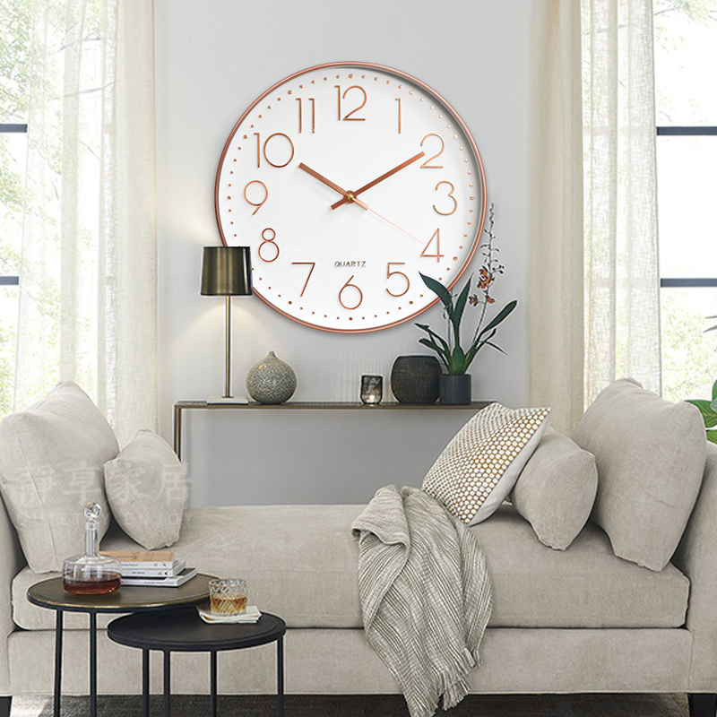 Digital Clock Rose Gold 12inch 3D Bedroom Ornament Home Decoration Hotel Office Livingroom Silent