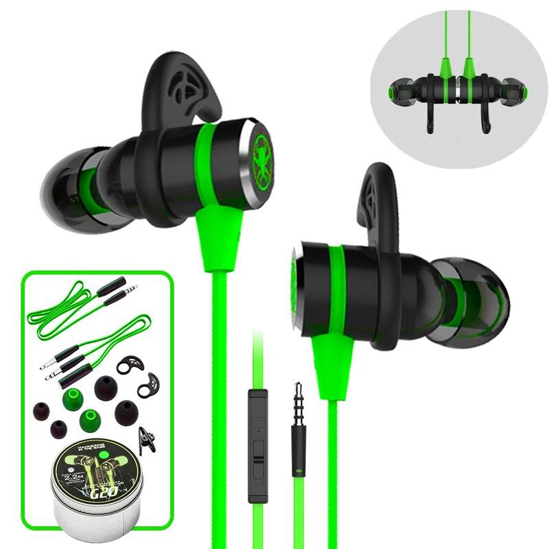 G20 hammerhead estéreo bajo auriculares con micrófono magnético Gaming Headset Cancelación de ruido auricular para teléfono deportivo