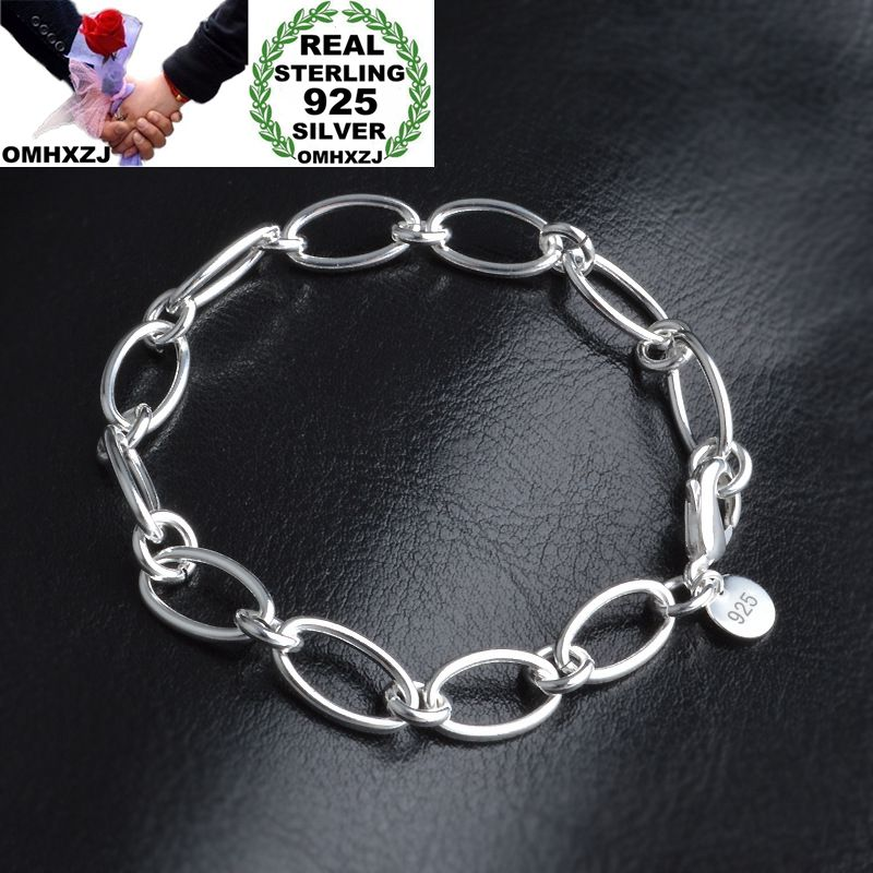 OMHXZJ Wholesale Personality Fashion OL Woman Girl Party Gift Silver Oval Circles Chain Thick 925 Sterling Silver Bracelet BR118