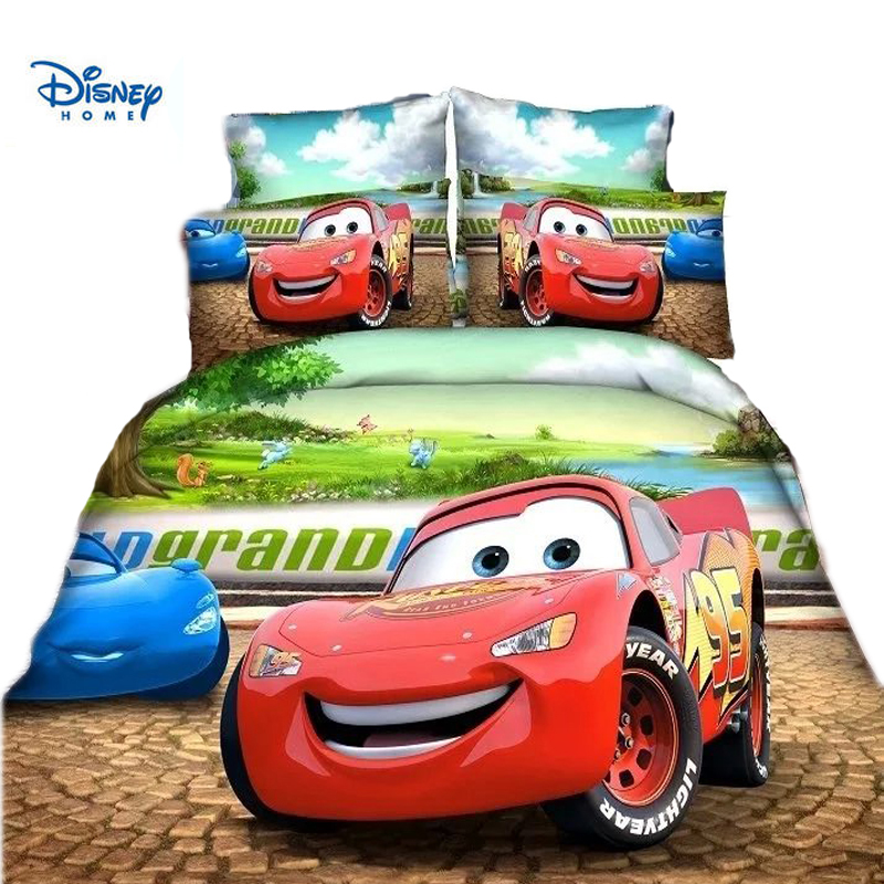 boy bedding set single twin size Lighting McQueen cars duvet cover 2/3/4 piece cartoon kids room decor disney pillow case linens