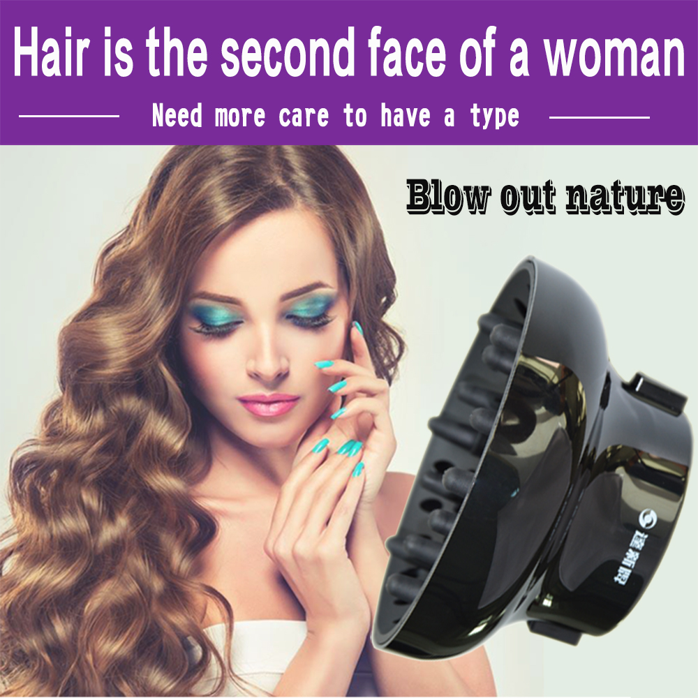 אוניברסלי שיער מפזר להתאמה עבור לפוצץ מייבשי עם D-1.7-Inch כדי 2.6-אינץ עבור מתולתל או גלי שיער, מבריק שחור