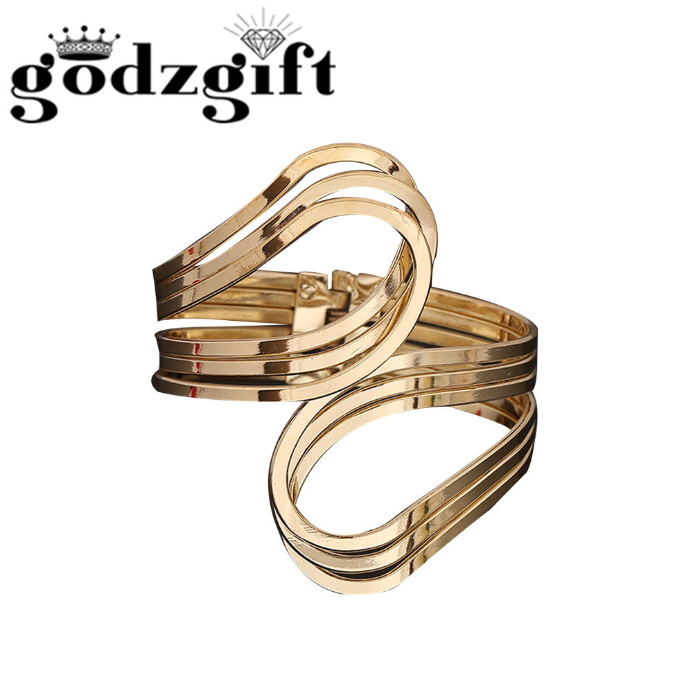 Godzgift Women Vintage Royal Geometry Intersect Bracelets Girls Modern Jewelry Gifts For Ladies Chic Tribe Hollow New JB5021