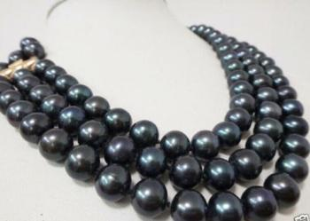 "Charming 3 Row 9-10MM NATURAL TAHITIAN BLACK PEARL NECKLACE 17-19"" Yellow Clasp"