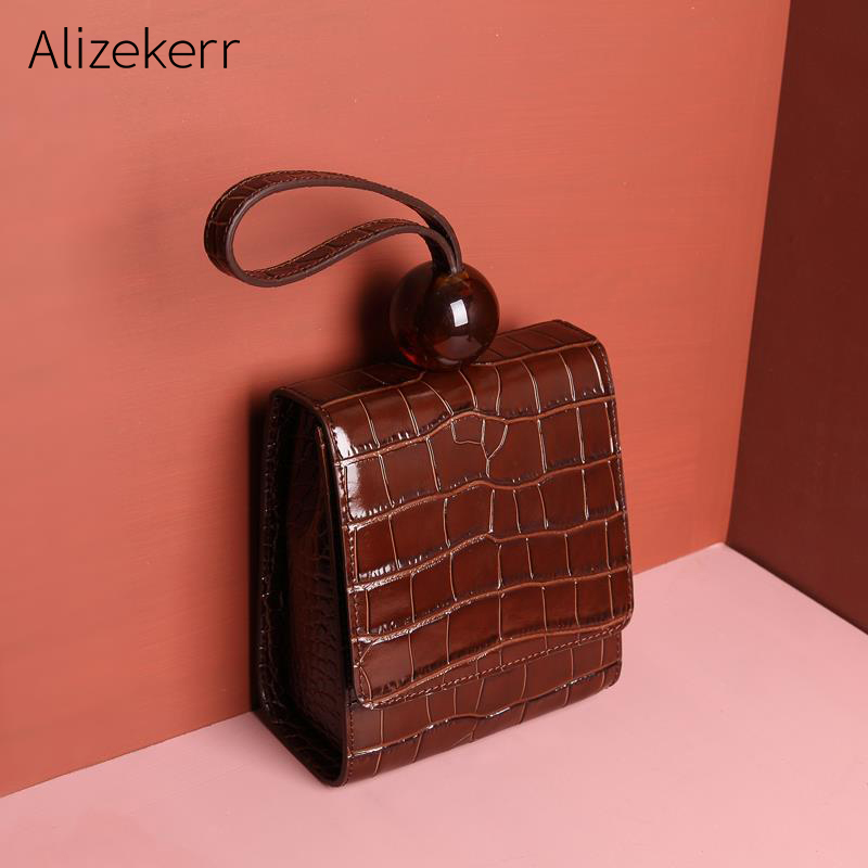 Women Genuine Cow Leather Handbag Luxury Crocodile Pattern Acrylic Bead Messenger Bag Female Tote Bag Famous Brand Woman Bags