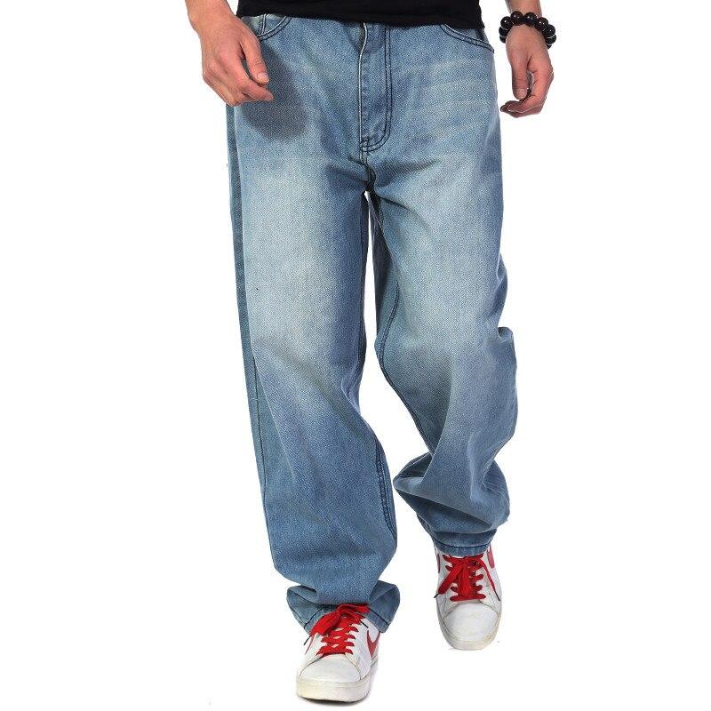Brand Mens Baggy Jeans Men Wide Leg Denim Pants Hip Hop 2017 New Fashion Skateboarder Jeans Free Shipping  hip hop jeans for men 2017 new fashion light blue baggy jeans skateboarder denim pants free shipping