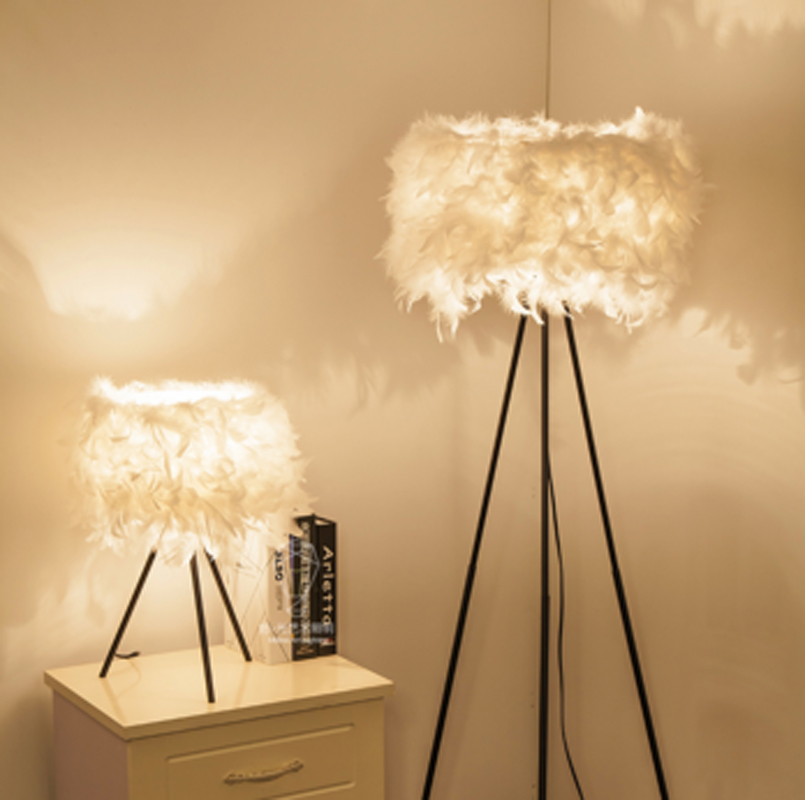 ZYY Creative simple fashion warm lamp anchor lamp decorative floor lamp feather lamp bedroom lights with LED bulbs xl7215 personalized decorative color feather creative wallpaper