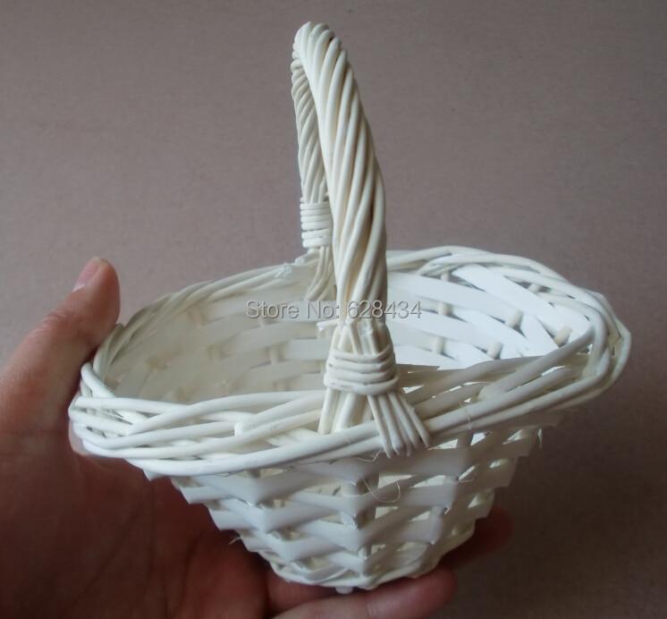 Free Shipping Elegant Props White Willow Baske Wicker Bride Wedding