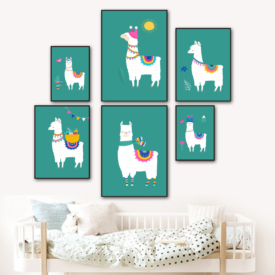 Llama Bird Cactus Flower Nursery Wall Art Print Canvas Painting Nordic Canvas Posters And Prints Wall Pictures Baby Kids Room in Painting Calligraphy from Home Garden