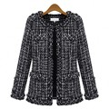 Autum winter women brands black and White Plaid Woolen Coat  female Cute Elegant jacket  DWT-8-66