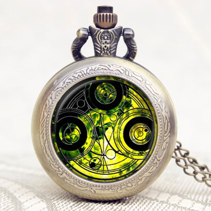 Antique Doctor Who Magic Designe Quartz Pocket Watch Men Women Pendant Gift With Necklace Chain Free Shipping P1138 2016 aladdin and the magic lamp watch the young men and women fashion quartz pocket watch table birthday gift ds262