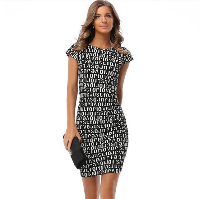 BAITAI Fashion Women Maxi Plus Size Dress Woman Female Sexy Letter Print Short Sleeve O-Neck Summer Dresses Vestido