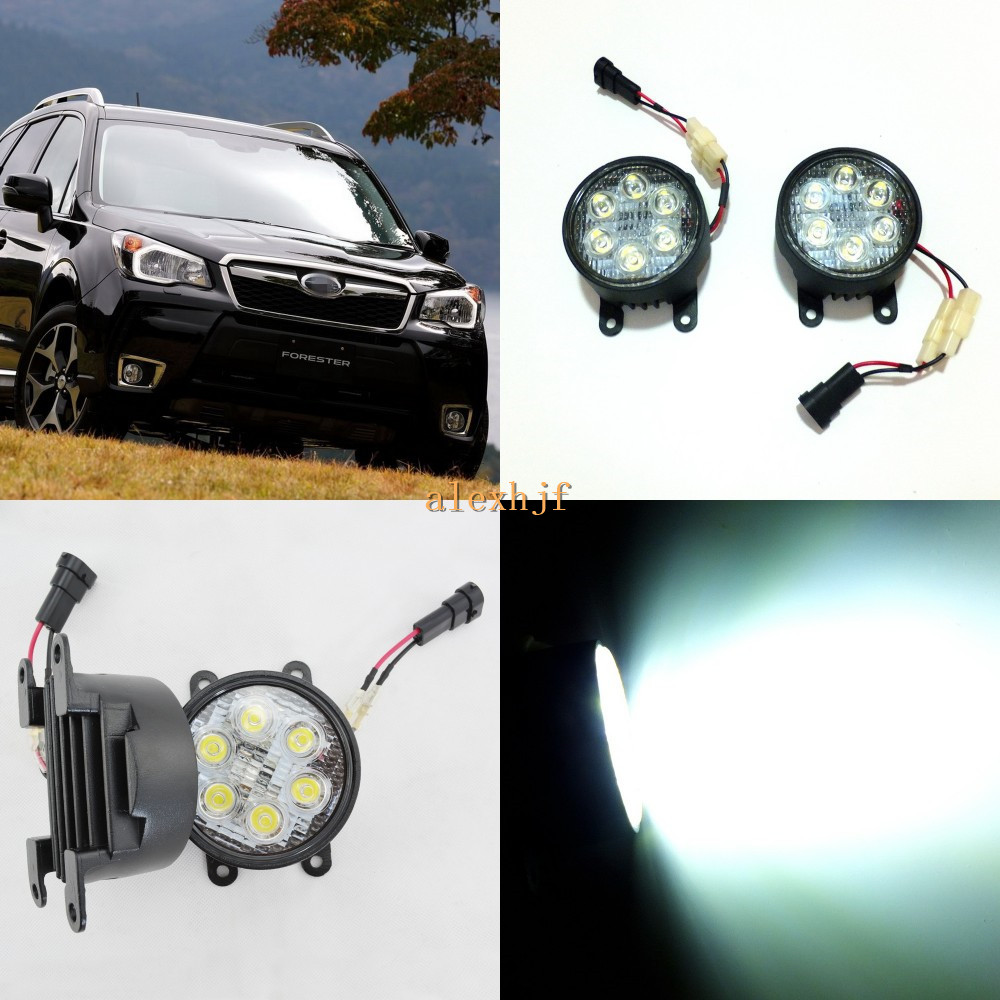 July King 18W 6LEDs H11 LED Fog Lamp Assembly Case for Subaru Forester 2013~ON etc, 6500K 1260LM Daytime Running Lights july king led daytime running lights 6500k 18w led fog lamps case for honda crv fit city crosstour everus and acura 2013 on etc