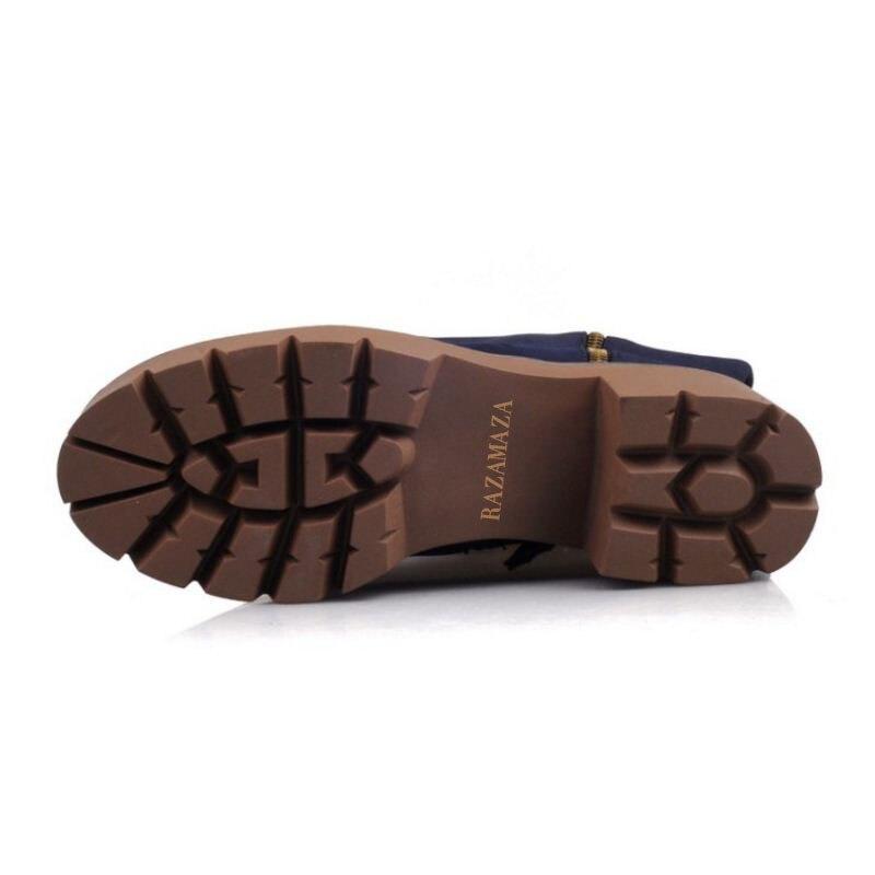 Genou Zipper Chaussures Rivet Hauts Et Épais Botas jaune À bleu Bottes Plate forme Chaudes Long Razamaza Taille 32 43 Femmes Talon Talons Noir On0Pwk