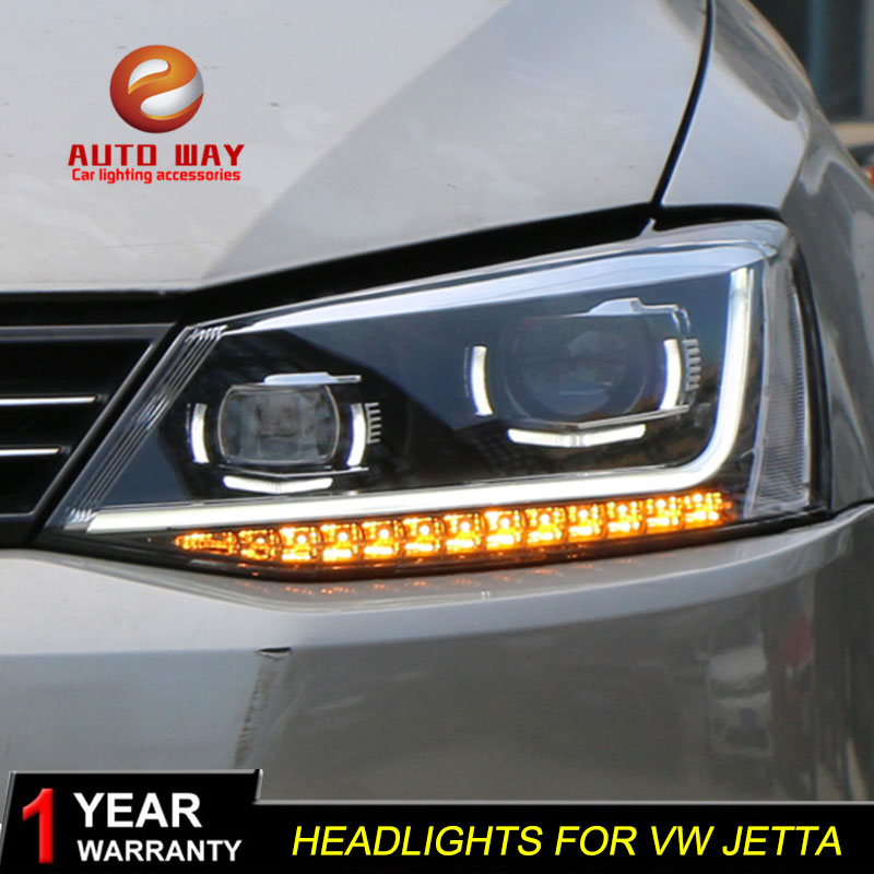 цена на Car Styling Head Lamp case for VW jetta MK6 2012-2017 Headlights LED VW jetta Headlight DRL Lens Double Beam Bi-Xenon HID
