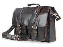 Genuine Cowhide Leather men bag Vintage Oil Wax men's briefcase shoulder business Laptop bag men messenger bags men's travel