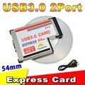 Горячая Продажа USB 3.0 PCI Express Card Адаптер 5 Гбит Двойной 2 порта КОНЦЕНТРАТОРА PCI 54 мм Слот ExpressCard PCMCIA Конвертер Для Ноутбука Notebook