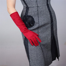Nice Red Suede Leather Gloves Woman 40cm Long Imitation Genuine Unlined  Classic Retro Female Mittens P31
