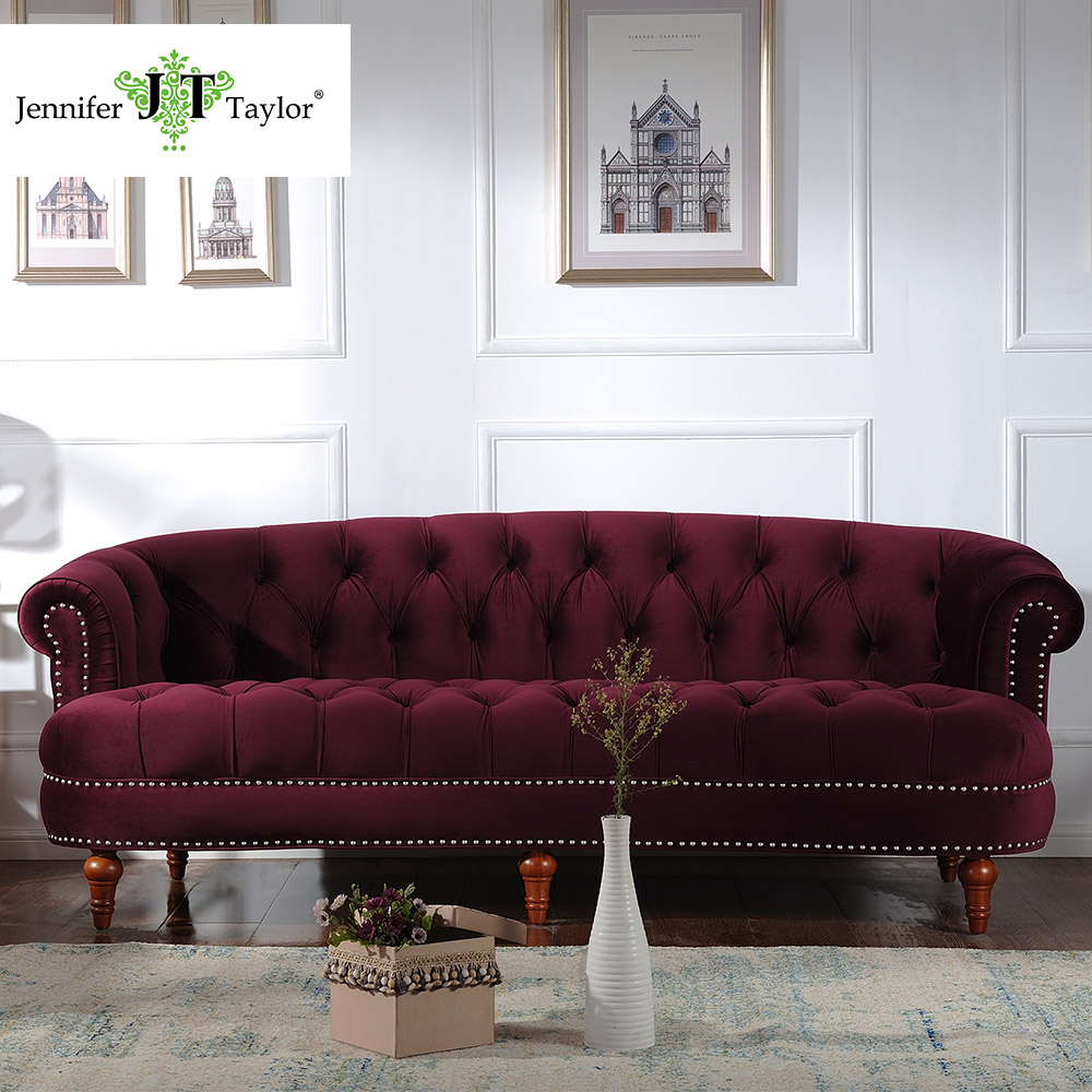 Jennifer Taylor, Living Room La Rosa Tawny Port/Estate Blue Sofa, Velvet, Hand Tufted, Hand-Applied Nail heads85W x 37D x 32H