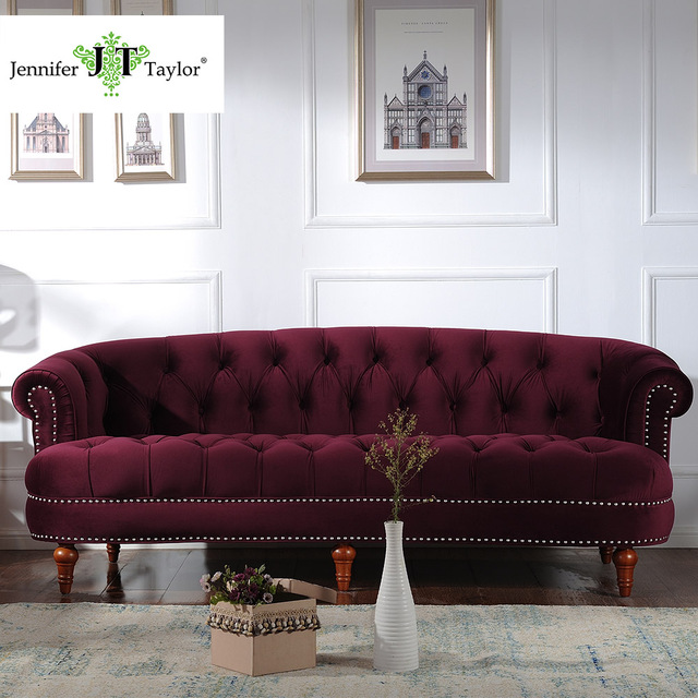 Jennifer Taylor, Living Room La Rosa Tawny Port/Estate Blue Sofa, Velvet,