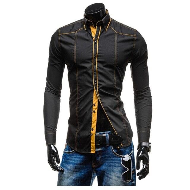 2015 new features slim line Mens Long Sleeve Shirt summer style  men shirt