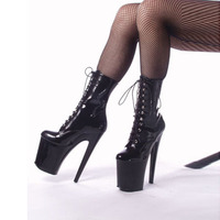 Fashion Sexy Knight Female 8 Inch High Heel Platform Ankle Boots For Women Autumn Winter Shoes