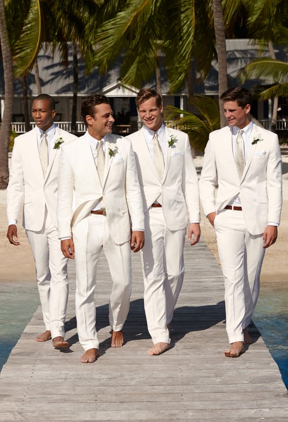 2017 Latest Coat Pant Designs Ivory Linen Beach Wedding
