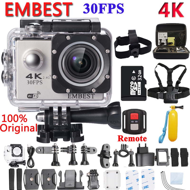EMBEST 4K WIFI Remote 16MP Sports Action Camera Helmet Camcorder Ultra HD 170D Waterproof 30M Extreme Sport Cam For RC Aircraft