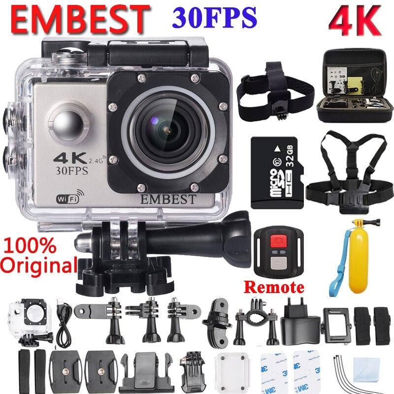 EMBEST 4K WIFI à distance 16MP Sport Action caméra casque caméscope Ultra HD 170D étanche 30M extrême Sport Cam pour avion RC