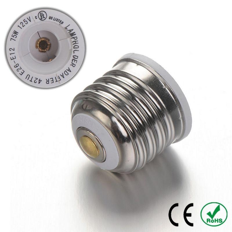 50pcs E26 to E12 Adapter Lamp Holder Converter Lamp Base Socket Fireproof PBT Copper LED Light Bulb Holder Extender Plug