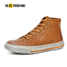 SERENE Brand Men Shoes Nubuck Leather Lace Up Warm Fur Boot Vintage Design Italian Techonology Boots
