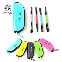 ENERGY Brand 4pcs Rainbow Makeup Brushes Set Double Head Make Up Brush Kit Colorful Bag Pincel