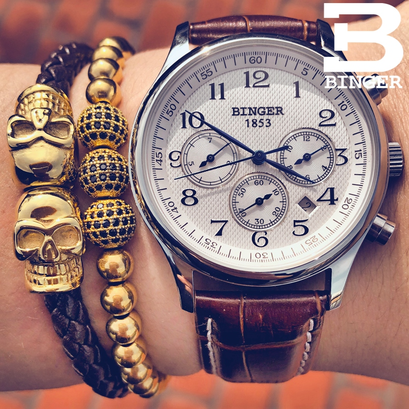 Watches Men Luxury Brand BINGER Automatic Mechanical Watch Waterproof Calendar Leather Wristwatch relogio masculino 2017