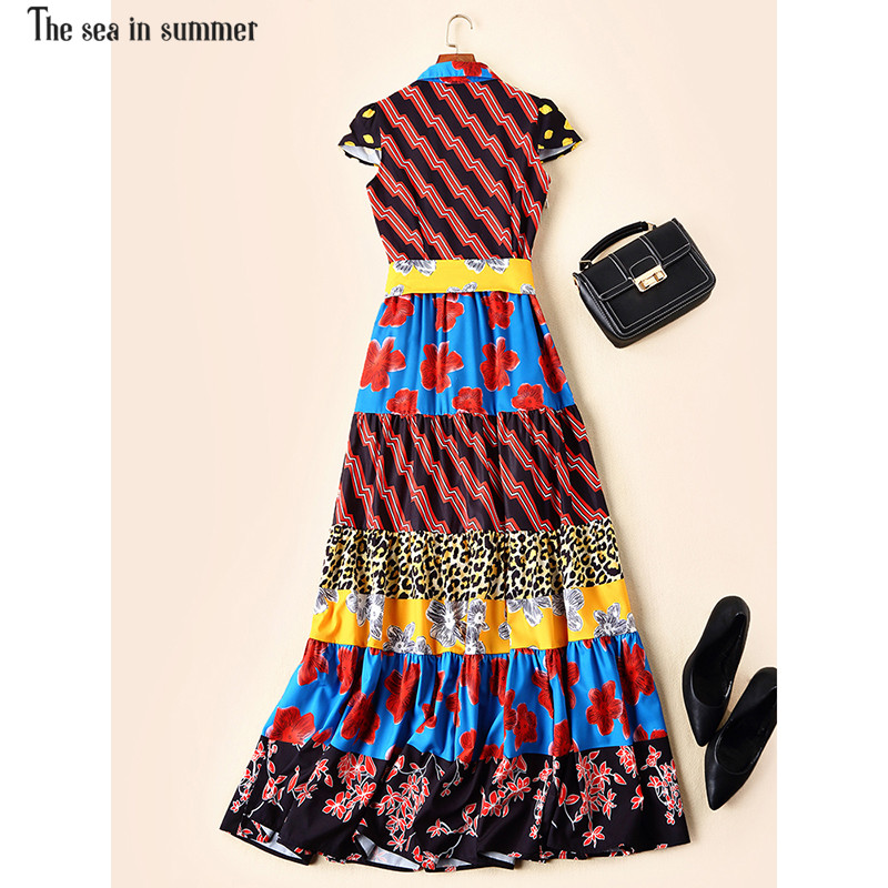 Maxi Été À Courtes Imprimé Rétro Femmes Bohème Manches Fashion2019 La Mer En D'été Vacances Ethnique Robe Longue Vintage Multi De TnwEZw